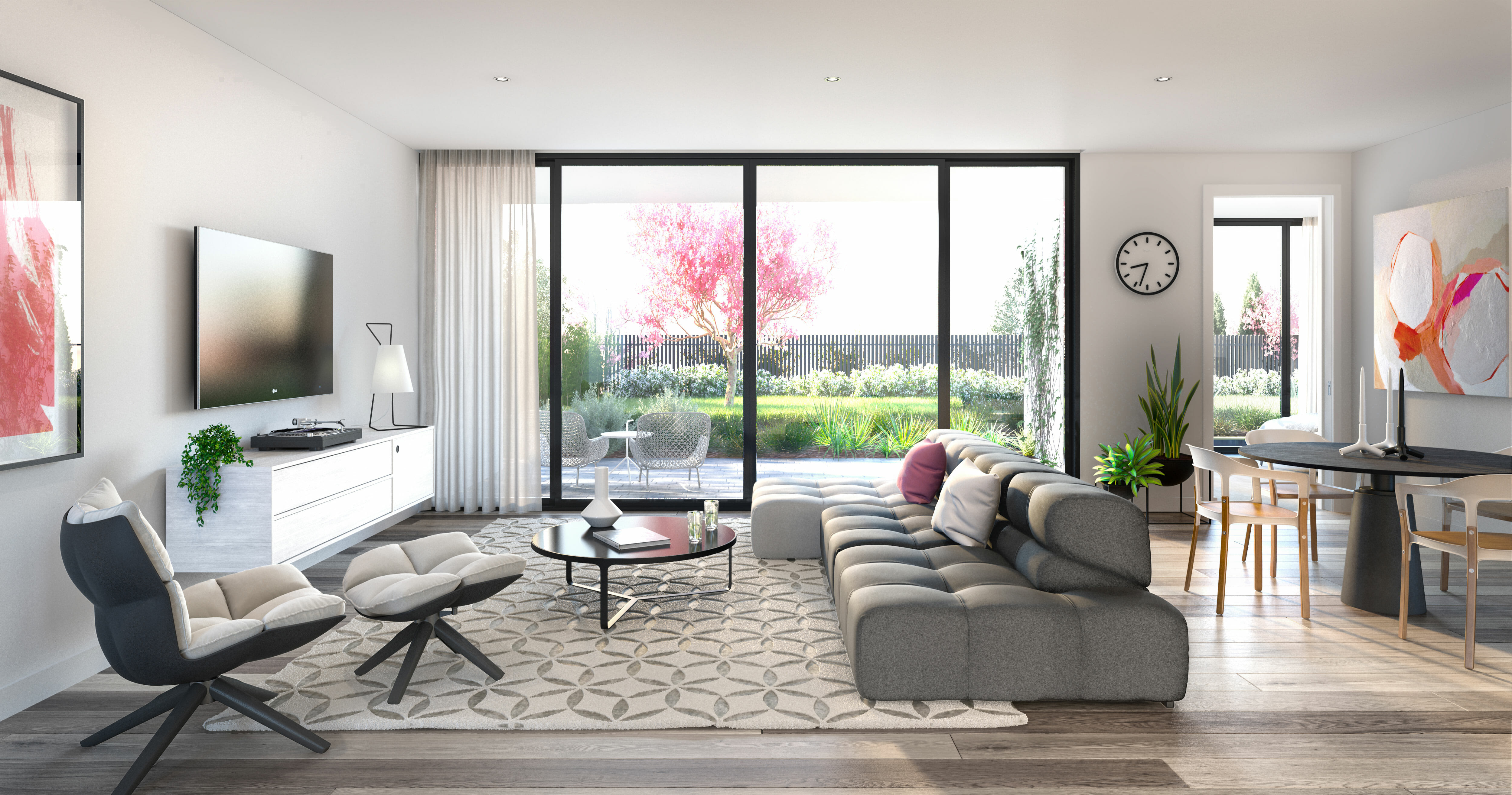 Interior 3d Render living room and garden, cherry blossom